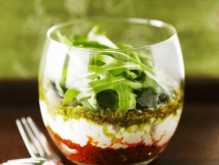 Tomaten- und Basilikumpesto mit Ricotta