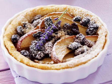 Tortelett mit Apfel, Sultaninen und Lavendel