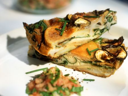 Tortilla mit Pilzen