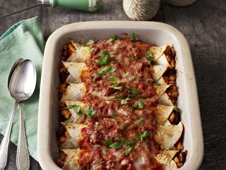 Überbackene Tortillas mit Füllung