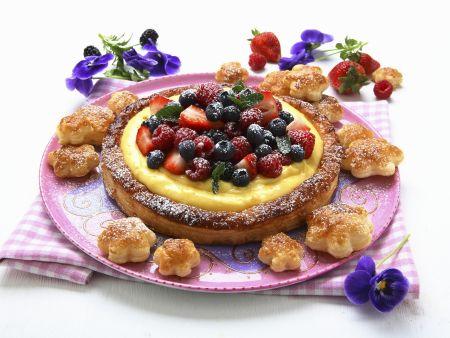 Vanille-Beeren-Kuchen aus Blätterteig
