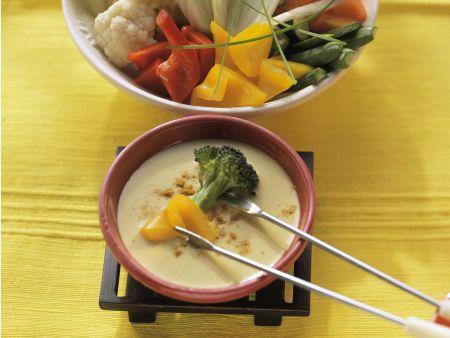 Vegetarisches Fondue mit Curry