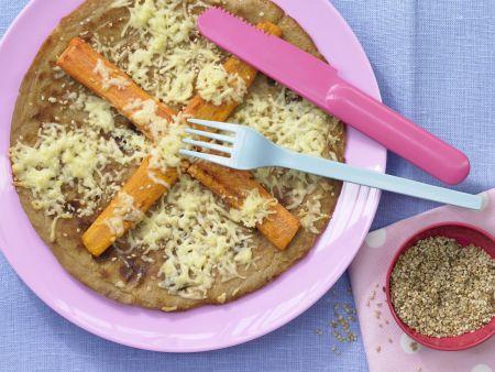 Vollkorn-Pfannkuchen mit Möhren und Sesam