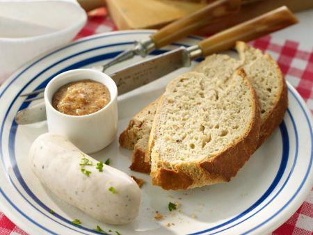 Weißwürste mit Brot und Senf