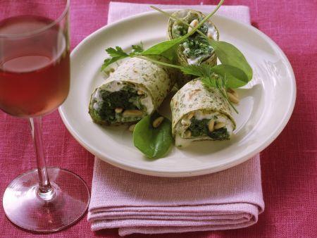 Wraps mit Gorgonzola und Spinat