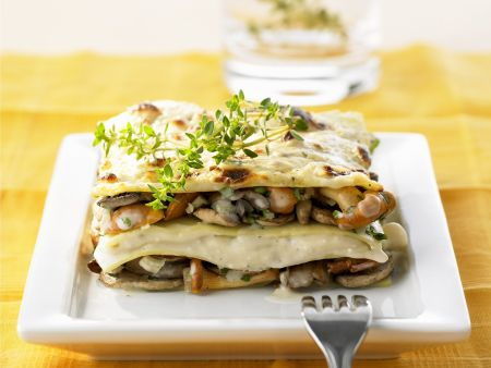 Würzige Pilz-Lasagne