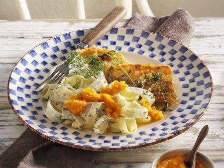 Zanderfilet mit Schwarzwurzelgemüse, Karottendip und Nudeln