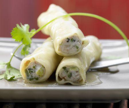 Asia-Cannelloni mit Lachs-Garnelen-Füllung