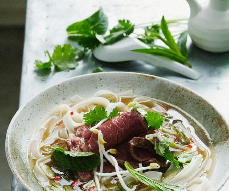 Asiatische Suppe mit Nudeln und Rindfleisch