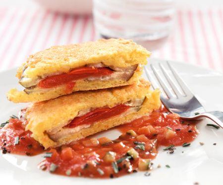 Auberginen-Piccata mit Gemüse-Tomatensauce