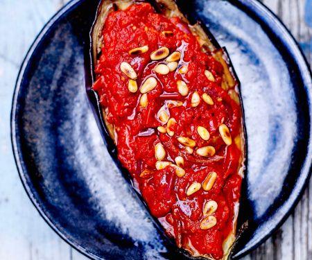 Auberginen vom Grill mit Tomatenkompott