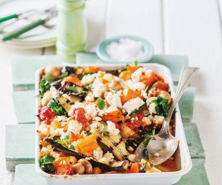 Auflauf mit Kürbis, Zucchini, Champignons, Spinat und Ricotta