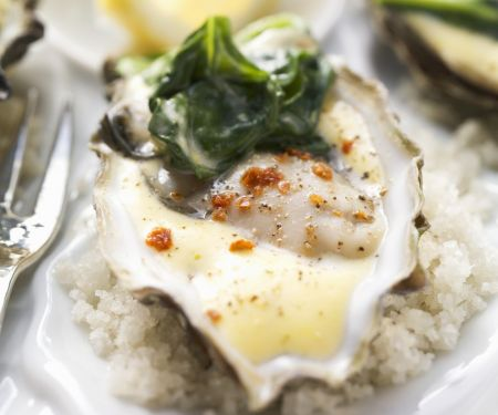 Austern auf Spinat mit würziger Hollandaise