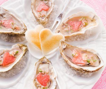 Austern mit Melone und Toast-Herzen