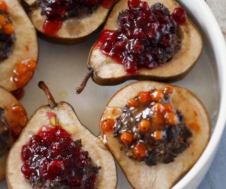 Birnen mit Cranberry-Füllung