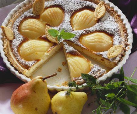 Birnenkuchen mit Marzipan