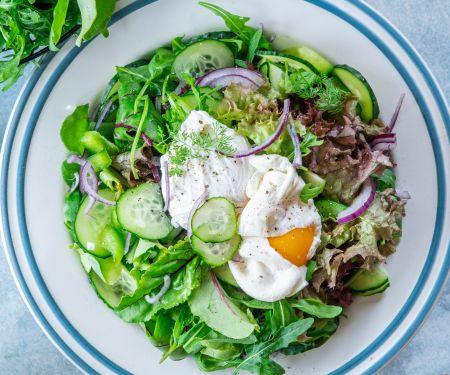 Blattsalat mit Gurken und pochiertem Ei