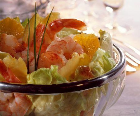 Blattsalat mit Shrimps und Cocktaildressing