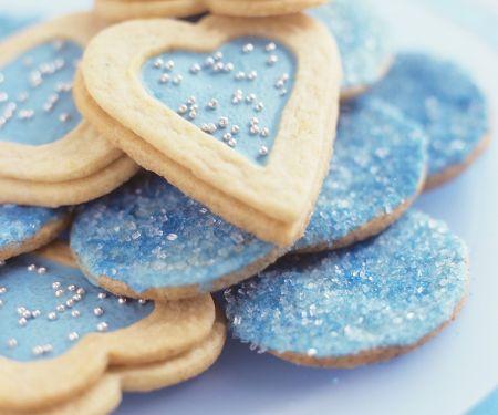 Blaue Plätzchen (Herzen und Taler)