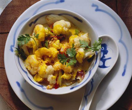 Blumenkohl-Curry mit Krabben
