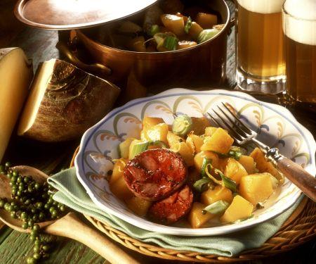 Blutwurst mit Pfeffer-Rüben-Gemüse