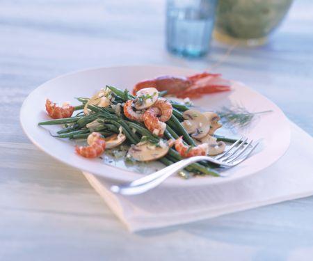 Bohnensalat mit Flusskrebsen