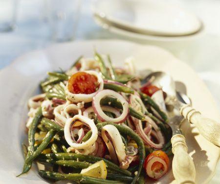 Bohnensalat mit Tintenfischringen