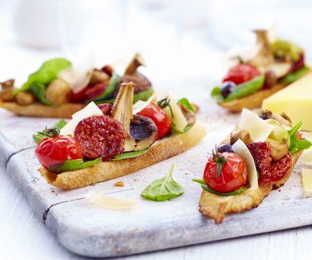 Bruschetta mit Chorizo, gegrillten Champignons und Le Gruyère AOP