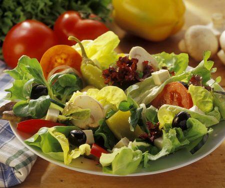 Bunter Blattsalat mit Käse