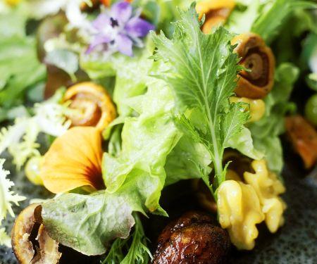 Bunter Salat mit Champignons und Maroni