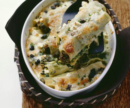 Cannelloni mit Spinat-Hackfleisch-Füllung