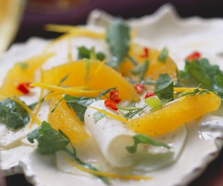 Carpaccio aus Kohlrabi mit Orangen