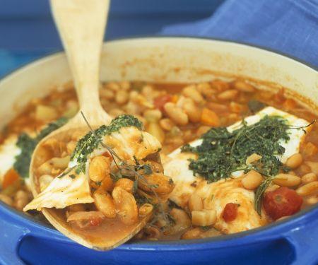 Cassoulet-Bohneneintopf mit Zander und Kartoffeln