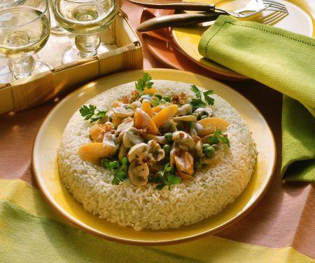 Champignon-Gemüsepfanne mit Reis