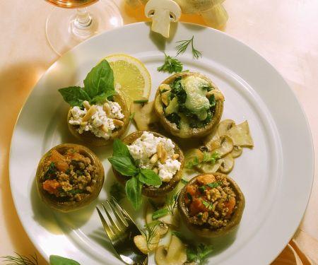 Champignons mit drei verschiedenen Füllungen