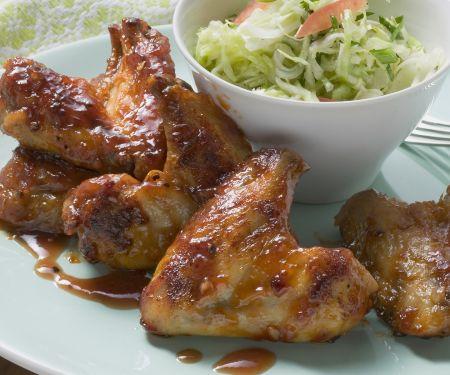 Chicken Wings süß-sauer mariniert und Kohlsalat