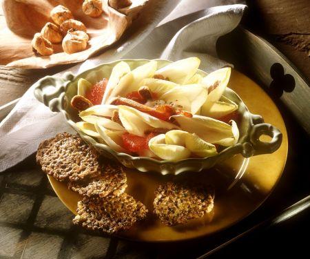 Chicoréesalat mit Linsenbratlingen