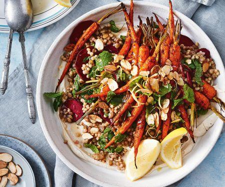 Couscous mit Linsen und Harissa-Möhren