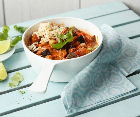 Curry mit Auberginen und Kichererbsen