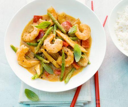 Curry mit Garnelen, Paprika und Bohnen
