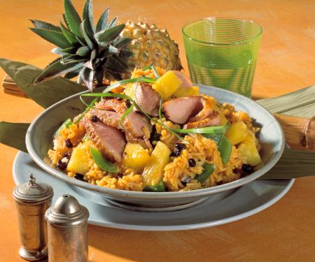 Curry-Reis mit Ananas und Ente