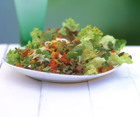 Eichblattsalat mit Paprika und Mais