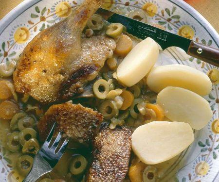 Ente mit Wein-Olivensauce