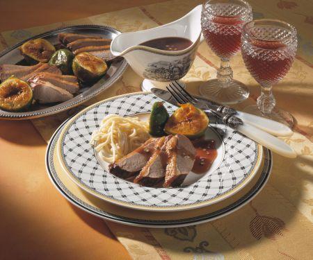 Entenbrust mit Rotweinsauce und Feigen