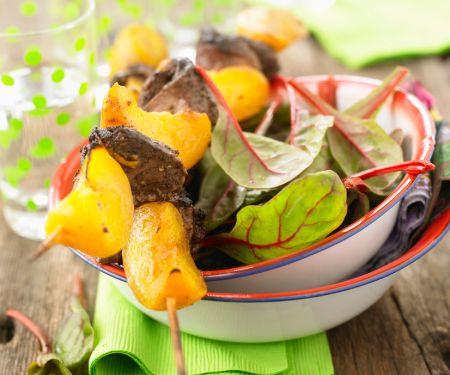 Entenspieße mit Pfirsich