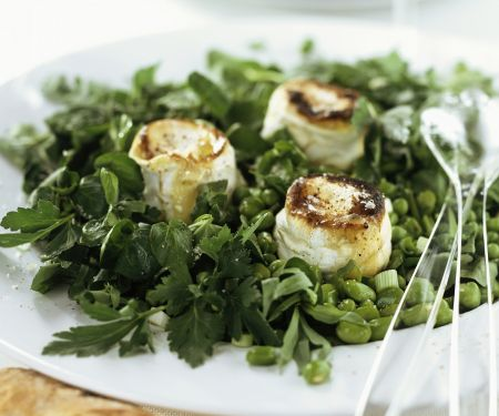 Erbsen-Bohnen-Salat mit Kräutern und gebackenem Ziegenkäse
