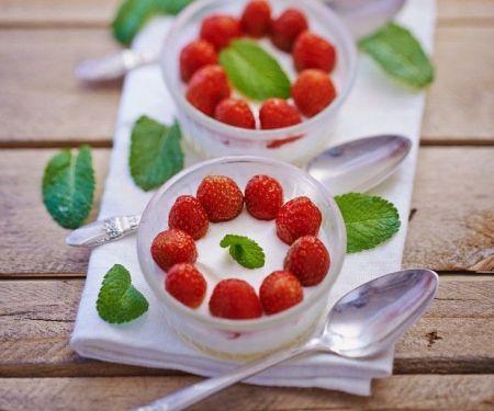 Erdbeer-Pannacotta mit Zitronenmelisse