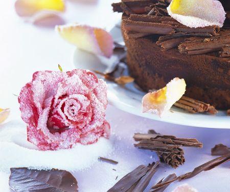 Espresso-Mascarpone-Kuchen mit kandierten Rosenblüten