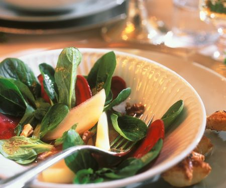 Feldsalat mit Melone und Roter Bete
