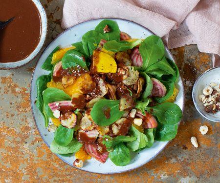 Feldsalat mit Topinambur und Schoko-Orangen-Dressing
